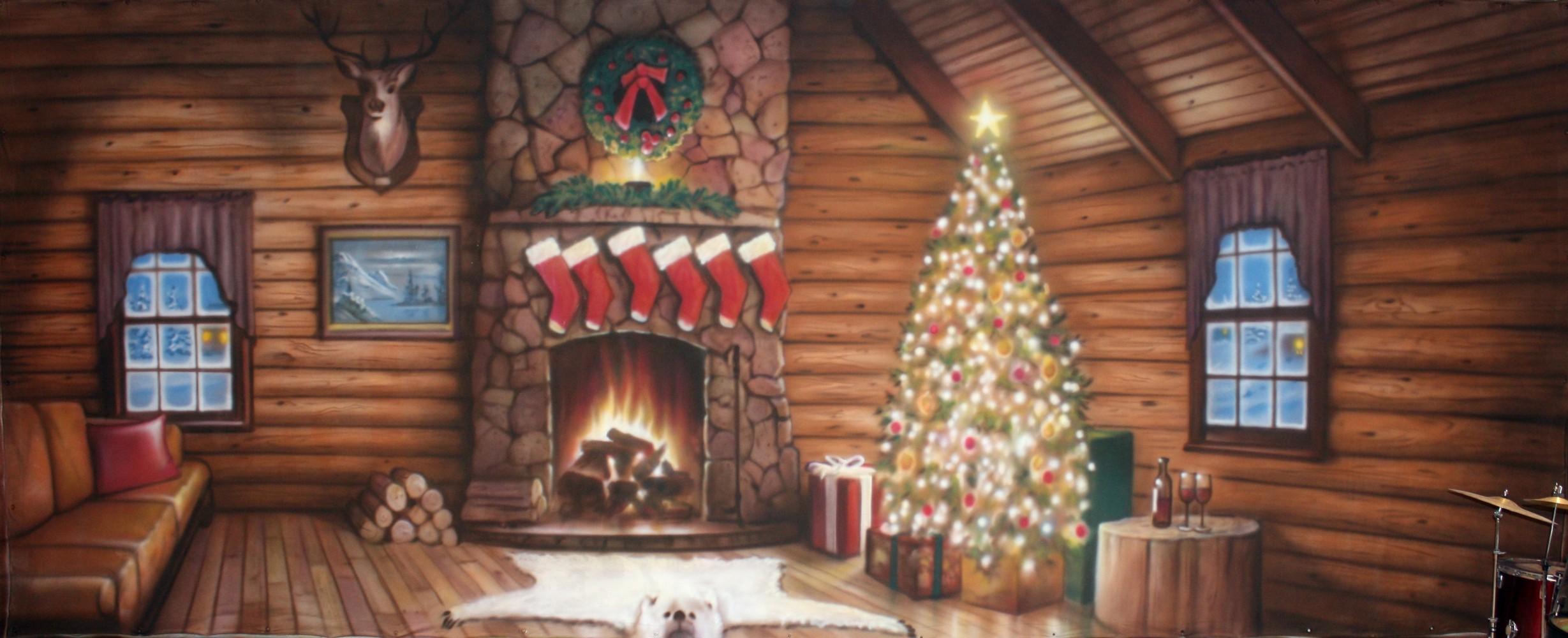 Christmas cabin interior - Christmas Cabin Backdrop